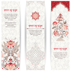 Set of three vertical banners. The motives of the paintings of ancient Indian fabrics. Tree of Life collection. Place for your text.