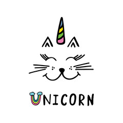 Cute cat with text unicorn.