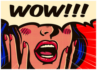 Retro pop art style surprised and excited comics woman with open mouth and speech bubble saying wow vintage vector illustration