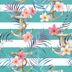 Hand-drawn watercolor sea pattern with anchor, plumeria flowers and palm leaves. Summer repeated background