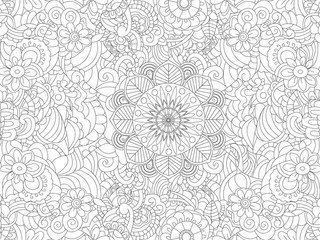 Antistress coloring book floral ornament on the whole leaf. Black lines, white background. Vector