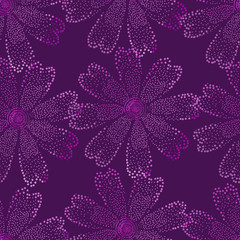 Seamless pattern of purple flowers on a burgundy background