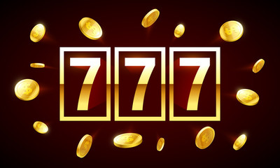 777, triple lucky sevens jackpot bright casino banner with coins flying around