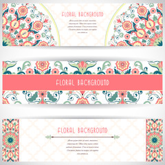 Set of three horizontal banners. Floral vector pattern in modern style. Moroccan tiles ornament. Place for your text.