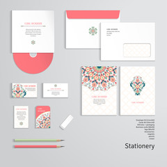 Vector templates. Beautiful floral round pattern in modern style and moroccan tiles ornament. Envelope, cards, business cards, tags, disc with packaging, pencils, eraser.
