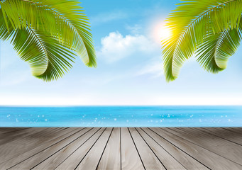 Vacation background. Beach with palm trees and wooden desk. Vector.