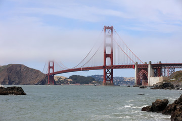 Golden Gate Bridge from Baker Beach in San Francisco. California. USA