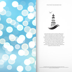 Vector card. The emblem of lighthouse and seagull. Blurred background. Marine style. Place for your text.