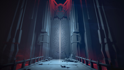 Mysterious dungeon with opening gates in blue tones. Entrance to the treasury. Above the high gate is a sculpture of a bird. At the gate lie skulls, shields and swords on a stone bridge. 3D rendering. Wall mural