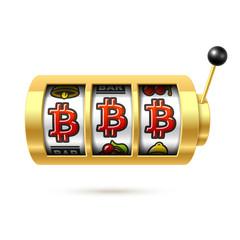 Bitcoin jackpot on slot machine, cryptocurrency symbol