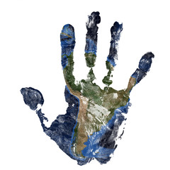 Real hand print combined with a map of South America of our blue planet Earth. Elements of this image furnished by NASA
