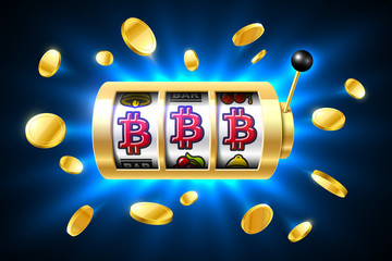 Bitcoin jackpot, cryptocurrency symbols on slot machine. Gambling games, casino banner with bright blue background and flying coins around