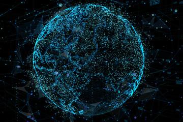 Communication in digital network. Earth Globe. 3d illustration