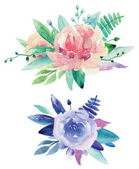 Watercolor floral bouquets clip art. Pink and purple flowers clipart
