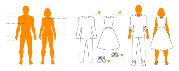 Infographic template of man and woman silhouettes with pointers and clothes contour. Isolated layout for shopping.