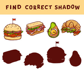 Match the shadow educational game for kids. Vector learning activity with food illustrations.