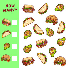 Counting educational game for children. Vector mathematical activity with food illustrations.