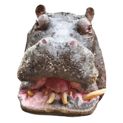 Polygon hippo. Triangle hippopotamus animal
