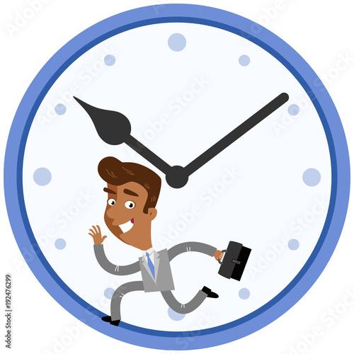 Vector Illustration Of A Hurrying Asian Cartoon Businessman Running
