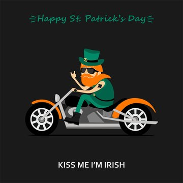 St. Patrick's Day greeting card, banner, poster, print on a t-shirt. Leprechaun ride the motorcycle. Inscription kiss me  I am Irish, inscription Happy St. Patrick's Day. Vector illustration