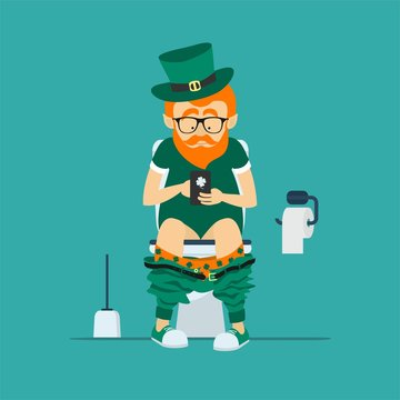 St. Patrick's Day greeting card, banner, poster, print on a t-shirt. Leprechaun hipster sits on  toilet bowl with phone in hands.Toilet paper and brush for toilet bowl. Vector illustration
