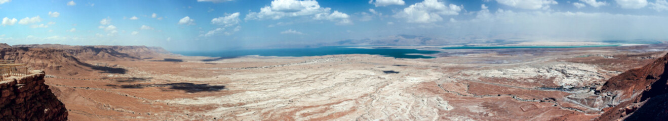 Panoramic  view from the walls of the fortress of Masada to the Judean Desert and the Dead Sea in Israel