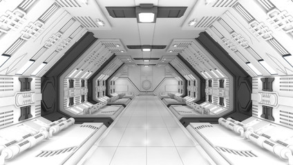 Smart modern future background sci-fi room, white gray color