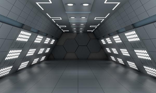 Smart modern future background sci-fi led light room, dark gray color