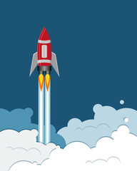 flying rocket cartoon on blue background