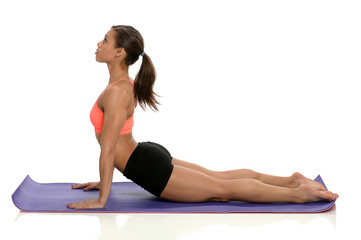 African American Woman Doing Yoga Stretching Excercise