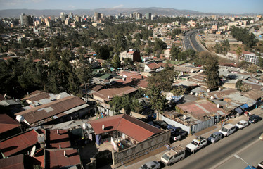 An aerial view shows residential estates in Addis Ababa