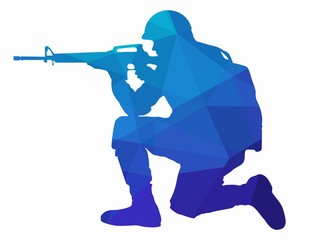 silhouette of a shooting soldier, vector draw