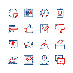 Elections, voting, political parties vector thin line icons set