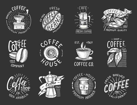 Set of coffee logos. modern vintage elements for the shop menu. Vector illustration. design decoration collection for badges. calligraphy style for frames, labels. engraved hand drawn in old sketch.
