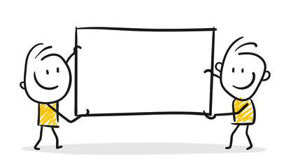 Strichfiguren / Strichmännchen: Schild, Werbung. (Nr. 200)
