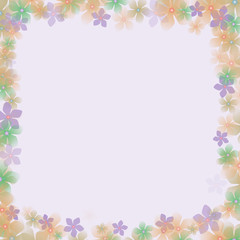 frame of flowers with a pale background