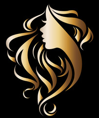 illustration vector of women silhouette golden icon