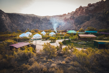 Yurta for tourists in Charyn canyon