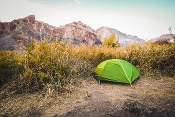 Tourist tent in Kazakhstan canyon