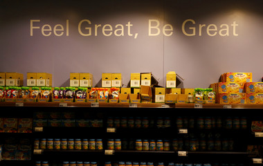 Baby food products are pictured in a shop at Nestle headquarters in Vevey
