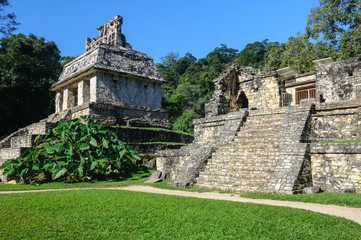 Temple of the Sun at Mayan ruins of Palenque in Mexico
