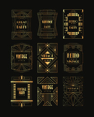 Vintage collection of golden Art Deco frames. Luxury vector emblems for business logo, party invitation card or restaurant insignia. Elegant retro badges in geometric shape