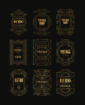 Decorative golden frames in vintage style. Art Deco. Creative geometric templates with place for text. Elegant vector cards for business company, invitation or fashion boutique