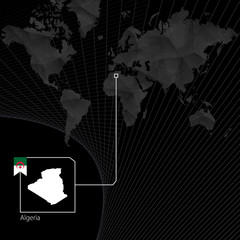 Algeria on black World Map. Map and flag of Algeria.