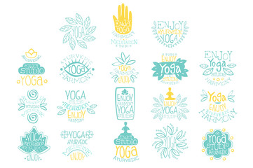 Hand drawn creative design yoga ayurvedic club logo set. Meditation studio. Lettering with illustrations of poses, lotus, leaves and hands. Vector collection