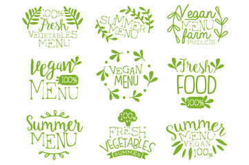 Green hand drawn vegetable menu logos set. Vegan healthy food. Elements collection with hand lettering and decoration. Vector isolated on white
