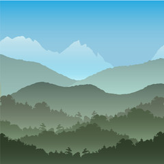 Vector seamless background. Green Mountain landscape in the summer..