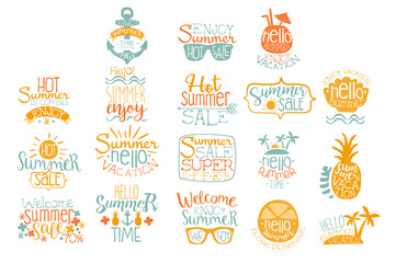 Hand drawn elements for summer calligraphic logo design. Beach vacation and hot sale concepts. Lettering with cocktails, tropical islands, sunglasses. Vector set