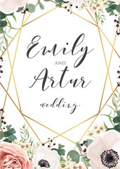 Wedding elegant invite invitation, save the date card design with tender lavender pink garden roses, anemones, wax flowers, eucalyptus branches, leaves & cute golden geometrical frame. Vector template