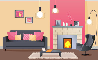 Interior Design of Cozy Living Room with Fireplace